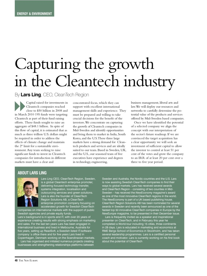 Capturing the CleanTECH industry